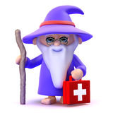 3d Wizard first aid. 3d render of a wizard carrying a first aid kit Stock Image