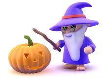 3d Wizard with Halloween pumpkin. 3d render of a wizard and a Halloween pumpkin stock illustration