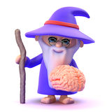 3d Wizard has a brain Royalty Free Stock Image