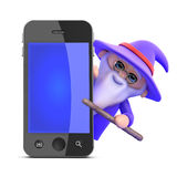 3d Wizard has found a smartphone Royalty Free Stock Photography