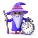 3d Wizard has a magical stopwatch Royalty Free Stock Photo