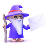 3d Wizard has mail Royalty Free Stock Photo