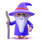 3d Wizard with his staff Stock Photo