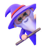 3d Wizard leans from behind blank space Royalty Free Stock Photography