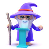 3d Wizard is lecturing again. 3d render of a wizard stood at a lectern Royalty Free Stock Images