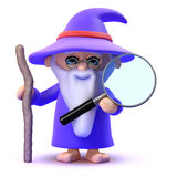 3d Wizard looks through magnifying glass Royalty Free Stock Image