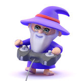 3d Wizard playing videogames Stock Photography