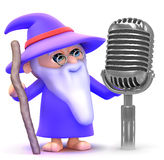 3d Wizard sings the blues Royalty Free Stock Images