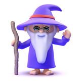 3d Wizard waving Stock Photography