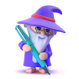 3d Wizard writing with his pen Stock Image