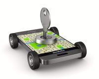 3d wizerunku nawigaci telefon Ochrona transport Odosobniony 3d illust Ilustracji