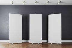 3d wnętrze z pusty białym stacza się up sztandary ilustracji