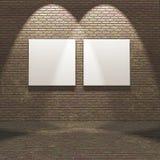 3D wnętrze z pustymi kanwami na ścianie z cegieł obraz royalty free