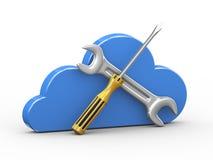 3d wolk en het herstellen van hulpmiddelen Stock Foto