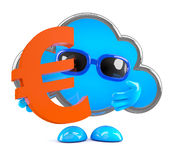 3d Wolk houdt een Euro muntsymbool Royalty-vrije Stock Afbeeldingen