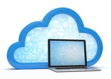 3d wolkensymbool en laptop Stock Afbeelding