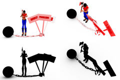 3d woman advice progress loss concept Collections With Alpha And Shadow Channel Royalty Free Stock Photos