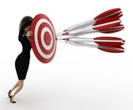 3d woman aim all arrow at center of target board concept Stock Photos