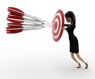 3d woman aim all arrow at center of target board concept Royalty Free Stock Photo