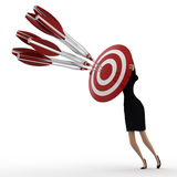 3d woman aim all arrow at center of target board concept Stock Images