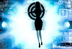 3d woman aim all arrow at center of target board illustration Stock Photo