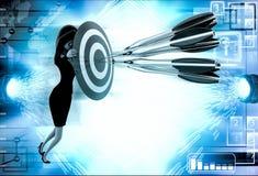 3d woman aim all arrow at center of target board illustration Stock Photos