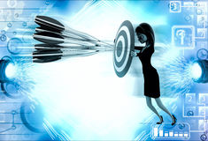 3d woman aim all arrow at center of target board illustration Royalty Free Stock Photo