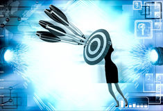 3d woman aim all arrow at center of target board illustration Royalty Free Stock Images