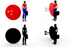 3d woman aim conept Collections With Alpha And Shadow Channel Stock Image