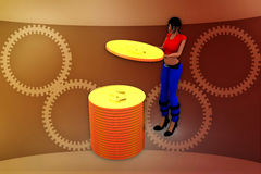 3d woman aim illustration Royalty Free Stock Photo