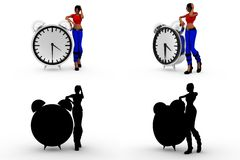 3d woman with alarm clock Concept Collections With Alpha And Shadow Channel Royalty Free Stock Images