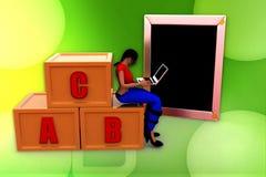 3d woman alphabet illustration Stock Photography