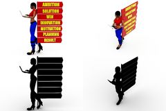 3d woman ambition Concept Collections With Alpha And Shadow Channel Stock Image
