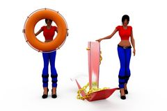 3d woman anchor tube concept Stock Images