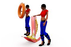 3d woman anchor tube concept Stock Photography