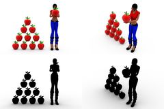 3d woman with apple Concept Collections With Alpha And Shadow Channel Royalty Free Stock Image