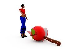 3d woman apple knife concept Royalty Free Stock Image