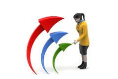 3d woman with arrow. In white background Royalty Free Stock Photos