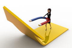 3d woman attract arrow up side using magnet concept Stock Photo