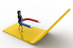 3d woman attract arrow up side using magnet concept Royalty Free Stock Images