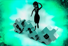 3d woman B2b puzzle illustration Stock Photo