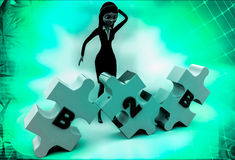 3d woman B2b puzzle illustration Royalty Free Stock Photo