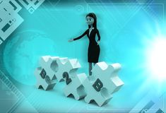 3d woman with B2B text engraved in puzzle illustration Royalty Free Stock Photography