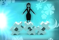3d woman with B2B text engraved in puzzle illustration Stock Image