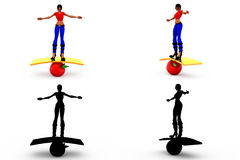 3d woman balance concept Collections With Alpha And Shadow Channel Stock Photo
