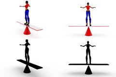 3d woman balance concept collections with alpha and shadow channel Stock Photography