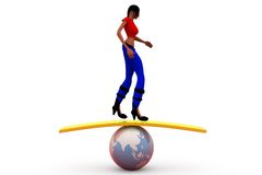 3d woman balance earth concept Stock Photography