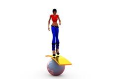 3d woman balance earth concept Stock Photo