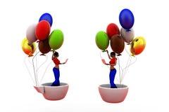3d woman balloon cup concept Stock Photos