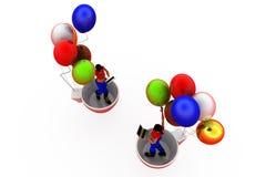 3d woman balloon cup concept Royalty Free Stock Photos